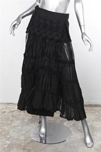 COMME des GARONS Womens Embroidered Peplum Pleated Ruched Wrap Skirt Black