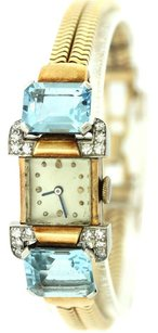 Concord 1920s Art Deco Concord 14k Gold Aquamarine & Diamond 17JWL Bracelet Watch