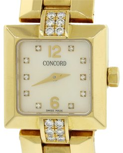 Concord Ladies Concord La Scala 18k Yellow Gold Diamond Dial Bezel Swiss Quartz Watch