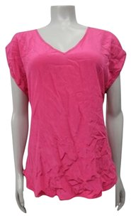 COPE Urban Outfitters V Neck Silk Top Pink