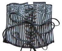 Corset-Story Bustier Striped Top black and silver
