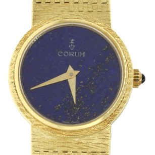 Corum Corum 18k Yellow Gold Lapis Dial Sapphire Cabochon Crown 23mm Dress Watch 45.1g