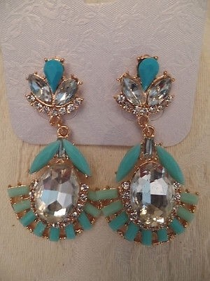 Costume Jewelry Earrings Gold Tone Faux Blue Turquoise Crystal Drop