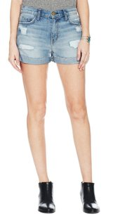 Current/Elliott The Bicycle Ballot Destroy Distressed Cuff Jean Denim 240 Shorts Blue