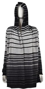 Cynthia Rowley Womens Black Cardigan Striped Knit Sweater
