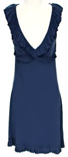 Cynthia Rowley short dress Blue Knit Ruffle on Tradesy