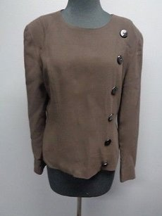Dana Buchman Chocolate Wool Lined W Button Accents Sma6284 Top Brown