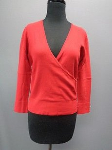 Dana Buchman Long Sleeve V Neck Cross Front Button Sm13786 Top Red