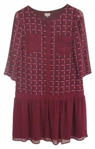 Daniel Cremieux short dress Burgundy Elbow-length Sleeves Chiffon on Tradesy
