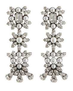DANNIJO Dannijo Tilly Pearl Crystal Earrings Blue White Irrg
