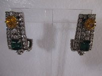 DANNIJO Dannijo Yellow Green Crystal Antique Silver Hook Earrings