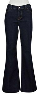 David Kahn Womens Blue Cotton Dark Wash Denim Pants Trouser/Wide Leg Jeans