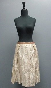 David Meister Sequined Waistline Pleated Sm4488 Skirt Tan And Bronze