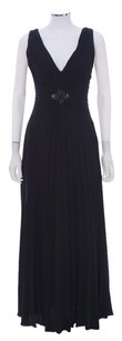 David Meister Pleated V-neck Evening Embellished Acetate Polyester Empire Waist Dress