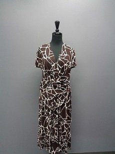 David Meister Brown And White Abstract Rayon Blend Sm2170 Dress