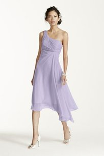 David's Bridal Iris Short One Shoulder Crinkle Chiffon Dress Style F15608 Dress