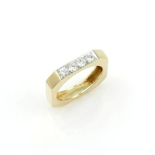 David Webb David Webb 18k Yellow Gold Platinum Diamond Square Shape Band Ring 6.75