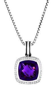 David Yurman Albion Pendant Enhancer with Amethyst and Diamonds, 14mm