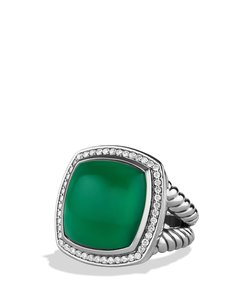 David Yurman Albion Ring with Green Onyx & Diamonds