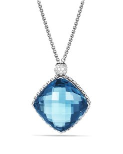 David Yurman Cushion On Point Pendant with Blue Topaz and Diamonds on Chain