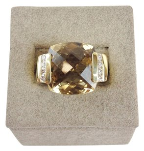 David Yurman David Yurman 18KT Yellow Gold Citrine Cushion Cut Cable Ring with Diamonds Size 5