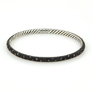 David Yurman David Yurman 925 Silver Midnight Melange Black Diamond Cable Wire Bangle