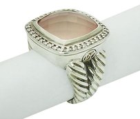 David Yurman David Yurman Albion 925 Silver 14mm Rose Quartz 0.34 Tcw Pave Diamond Ring R600