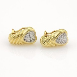 David Yurman David Yurman Diamonds Hearts 18k Yellow Gold Shrimp Earrings