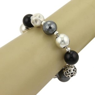 David Yurman David Yurman Elements Black Onyx Hematite Sterling Silver Bead Bracelet
