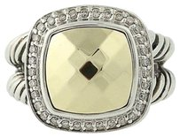 David Yurman David Yurman Albion Ring - Sterling 18k Gold 11mm Center Diamond Halo .22ctw