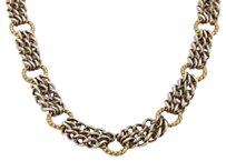 David Yurman David Yurman Silver 18k Yellow Gold Triple Chain Wire Ring Toggle Necklace