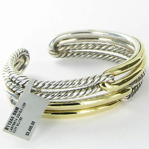 David Yurman David Yurman Labyrinth Bracelet Double Loop Cuff 18k Gold 925 Silver W Tags
