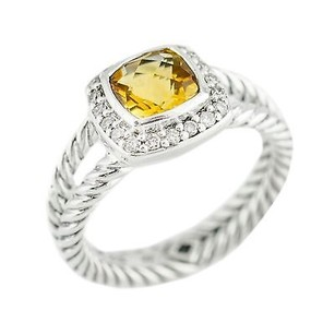 David Yurman David Yurman Petite Albion 0.17ct Diamond Citrine 6.5grams Silver Ring 8.25