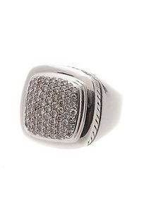 David Yurman David Yurman Sterling Silver 14mm Pave Diamond Albion Ring Size 7.5