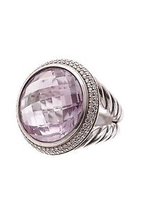David Yurman David Yurman Sterling Silver 18mm Amethyst Diamond Cerise Ring Size 6