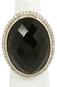 David Yurman David Yurman Sterling Silver 46ctw Diamond Faceted Smokey Topaz Cable Ring