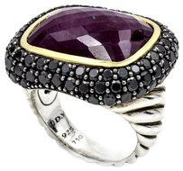 David Yurman David Yurman Waverly Ruby Ring with Black Diamonds and Gold Size 6