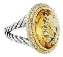 David Yurman Oval Lemon Citrine and Diamonds with Gold Ring