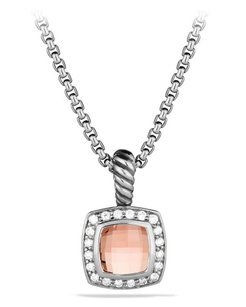 David Yurman Petite Albion Pendant with Morganite and Diamonds on Chain