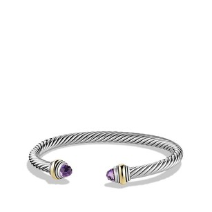 David Yurman Silver Cable Classic Bracelet With Amethyst And 14k Gold (Medium)