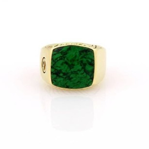 David Yurman Malachite Exotic Stone Mens 18k Yellow Gold Signet Ring -