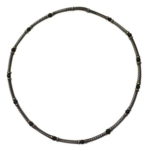 David Yurman Sterling Silver Choker with Black Onyx and 14k Gold Stations