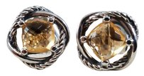 David Yurman Sterling Silver Infinity Earrings with Citrine