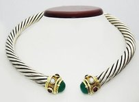 David Yurman Vintage David Yurman Garnet Pearl Chrysopal Silver Gold Cuff Choker Necklace N64