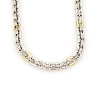 David Yurman Yurman 925 Silver 18k Ygold Cable Wire Square Link Toggle Clasp Necklace