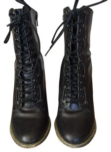 Deena & Ozzy Leather Lace-ups Black Boots