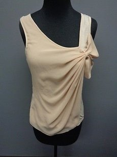 Deletta Casual Knit Sleeveless W Sheer Bow Accent Sma2722 Top Beige