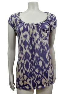 Deletta Ikat Print Top White Blue