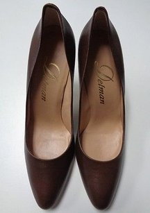 Delman Rounded Toe Brown Pumps