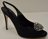 Delman Black Silk Peep Toe Blacks Pumps